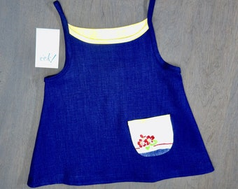 Child's reclaimed cobalt blue linen summer tank with vintage linen floral in red, blue, green and peach, size 5