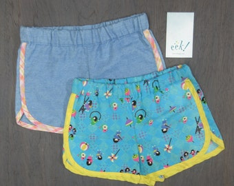Set of 2, child's retro-style running shorts, made from vintage and reclaimed cotton and lightweight denim, size 5