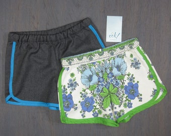 Set of 2, child's vintage and reclaimed fabric shorts, size 8