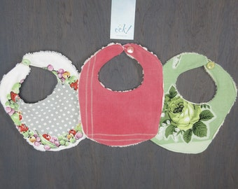 Set of 3, vintage and reclaimed fabric bibs, with vintage buttons, Droolie Julie bibs for teething babies