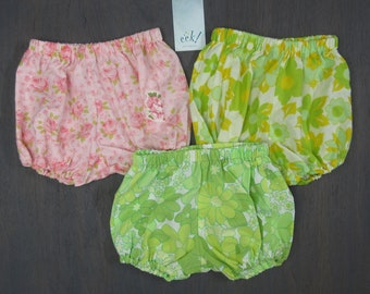 Baby bloomers, set of 3, vintage cotton in pink, green and yellow floral patterns , size 18 months