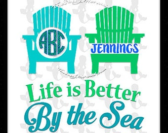 Beach Monogram Svg Summer Beach Svg Summer SVG Life is