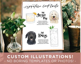 CUSTOM Pet Drink Sign Wedding Sign for Bar Signature Drink Sign with Dog Signature cat sign Party Sign with Pet his and hers pet sign