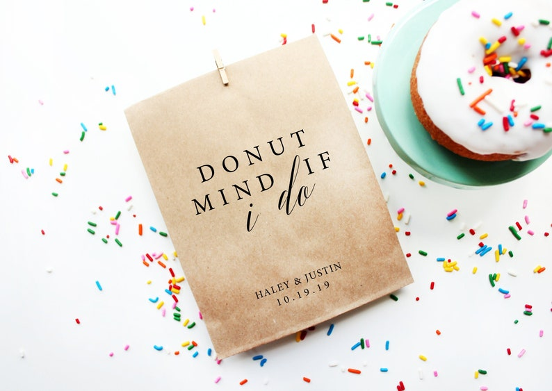 Wedding Favor Bags Donut Mind If I do Bags Personalized Wedding Favor Bags Custom Favor Bags Favor Bags Wedding Donut Favor Bag