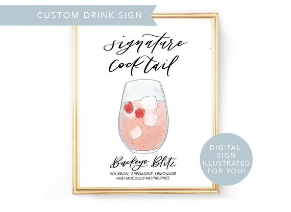 His Hers Drink Digital Signature Drinks Sign Printable Signature Drink Sign Pdf Wedding Illustrated Cocktail Sign Custom Drink Sign