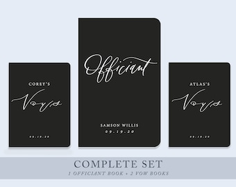 Complete Set of 1 officiant book + 2 vow books