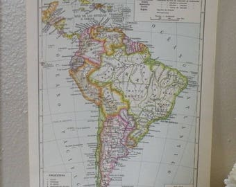 1960 Vintage South America Map-Cool Old Map-World Map-Authentic Map of South America-Global Decor-Map Art