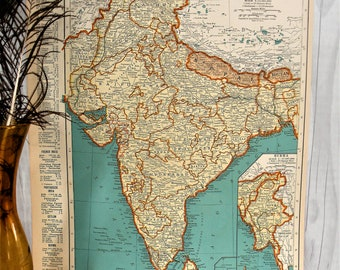 Original 1895 Map of India by Dodd Mead /& Company Antique