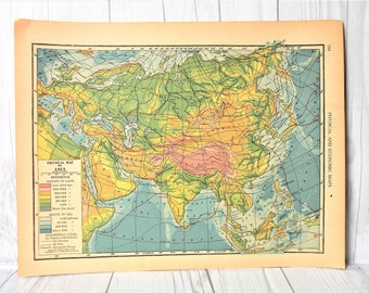 Map Of Asia 1930.Asia Map Etsy