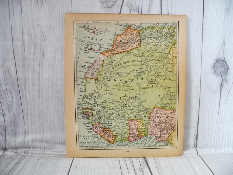 Antique Map of Africa 1910, Old Map of Sahara Desert, Cool Old Map, Small  Map, Gallery Wall, Vintage Home Decor, Map for Framing