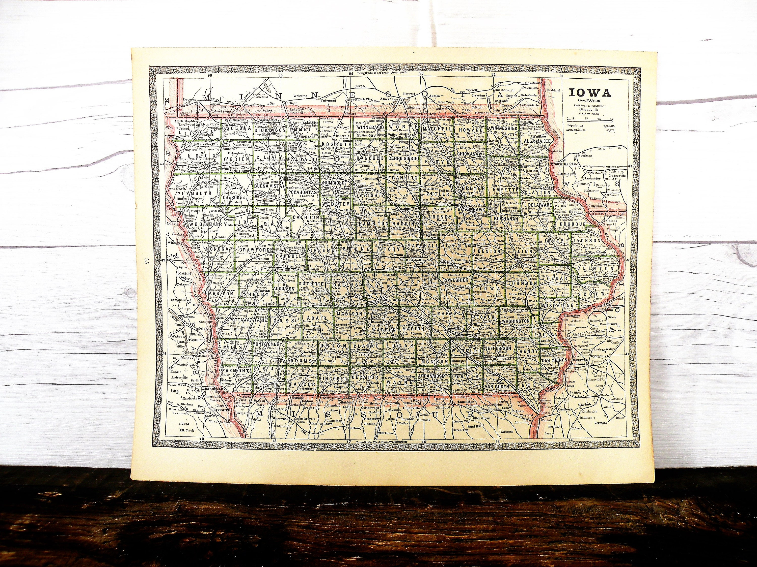 Iowa Antique Map 1884- Cool Old Map of Iowa-Vintage Retro Map of Iowa-World  Map-Gallery Wall Art-Iowa Gift-Travel Memory