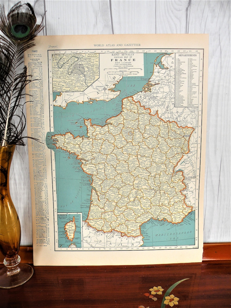 Map Of France 1940.Vintage Map Of France 1940 Historical Print Wwii Map Of Etsy