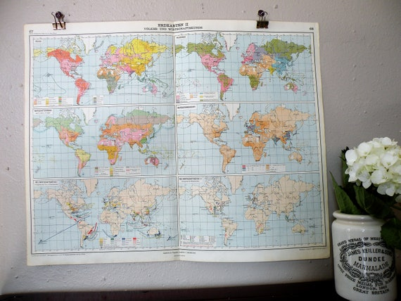 Frameable World Map.Real World Map Vintage World Map From 1928 Cool Retro Travel Etsy