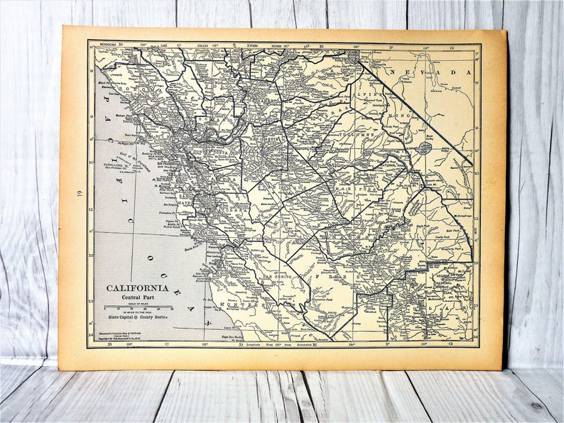 Map to frame Central California 1930-Great Depression Era Map-Cool Old Map  of Central California-Gallery Wall-Old Map to Frame-Original Map
