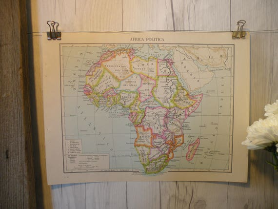 1961 Vintage Map Africa Cool Old Map World Map Map Art Global Etsy