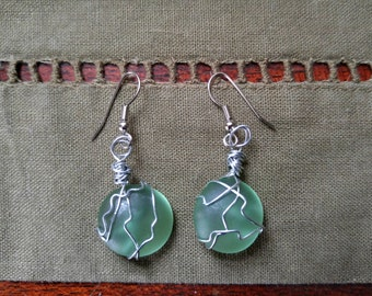 Sea glass earrings with a beachy vibe