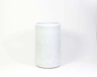 Large White Speckled Vase