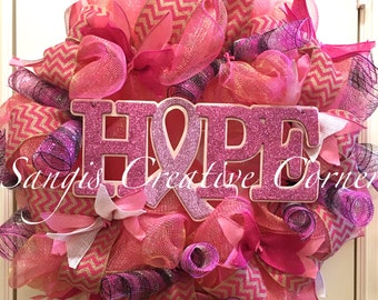 HOPE breast cancer awareness wreath,HOPE, Breast cancer wreath, pink wreath,Breast cancer,Breast cancer awareness, Breast cancer door hanger