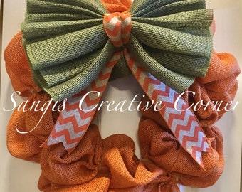 Pumpkin Wreath; Orange Fall Wreath; Burlap Wreath; Autumn Wreath; Fall Decor; Front Door decor; Fall Wreath; Thanksgiving wreath; Wreath;