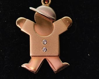 "14K Gold The Kids Diamond Boy Charm Pendant and 18"" Chain Jewelry by Fortunoff of New York"