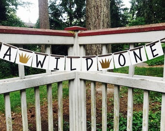 Wild One Banner, Wild One Birthday, Happy 1st Birthday Banner, High Chair Banner, Photo Prop Banner, Wild One Decorations