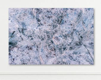 ICELAND SERIES - Large Metal, Canvas or Print - Ice Cave Glacier Blue Purple - Abstract Wall Art