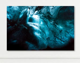 ICELAND SERIES - Large Metal, Canvas or Print - Ice Cave Glacier Blue Turquoise - Abstract Wall Art