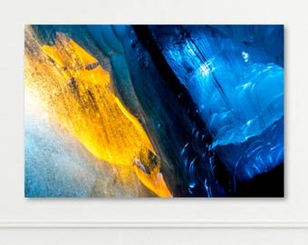 ICELAND SERIES - Large Metal, Canvas or Print - Ice Cave Glacier Blue Orange - Wall Art