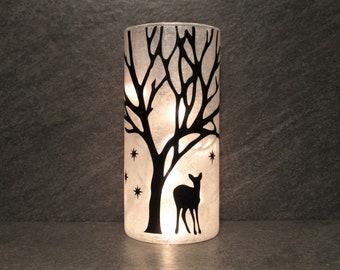 Winter Deer Light, Black and White Deer