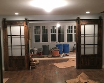 glass sliding barn door customize your size - Glass Barn Doors