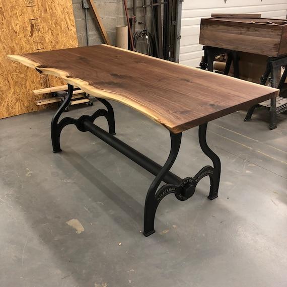 Black walnut dining room table // Live edge slab // Vintage Iron Base