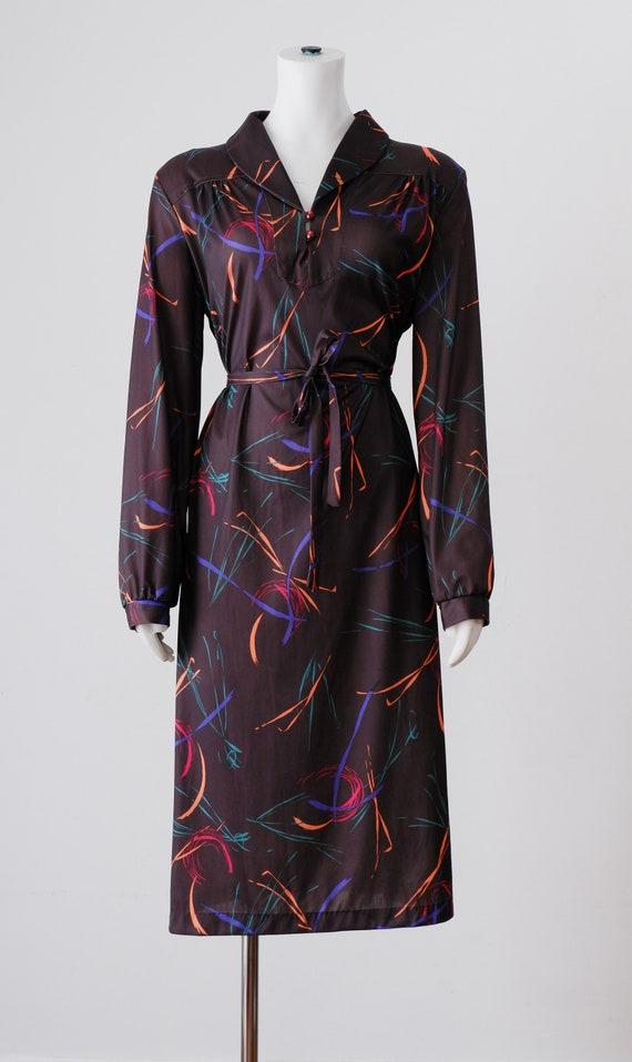 1970's Brown Swirl Midi Dress / Vintage Long Sleev