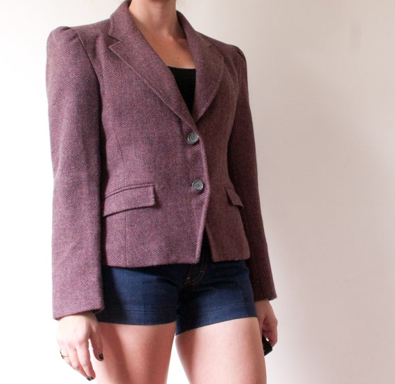 Vintage Pink Wool Blazer / 1970's Purple Suit Jack
