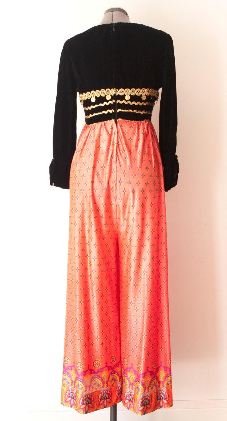 1960/'s Black Velvet Romper  Vintage Wide Leg Bohemian Jumpsuit
