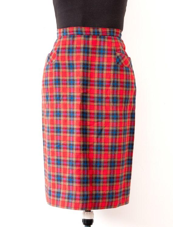 1960's Plaid Pencil Skirt / Vintage High Rise Tart