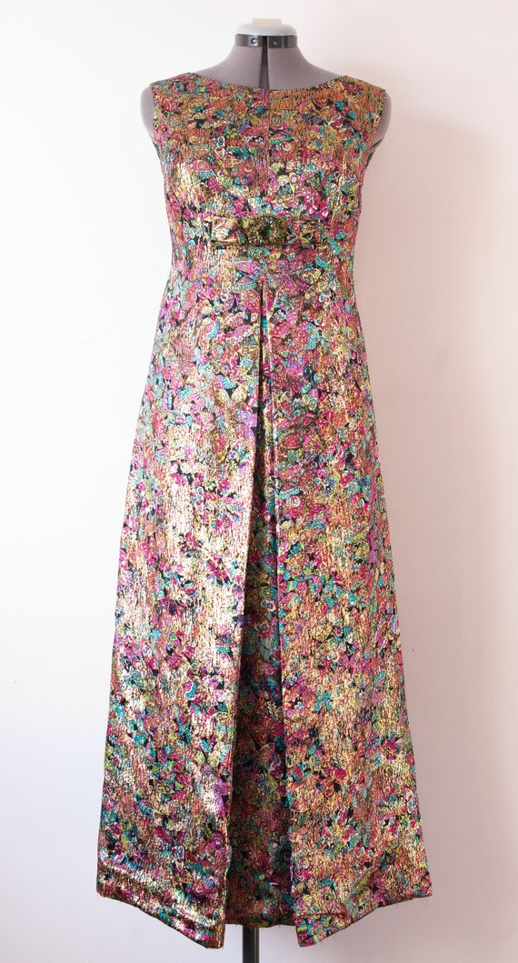 1950's Rainbow Metallic Maxi Dress / Vintage Butte