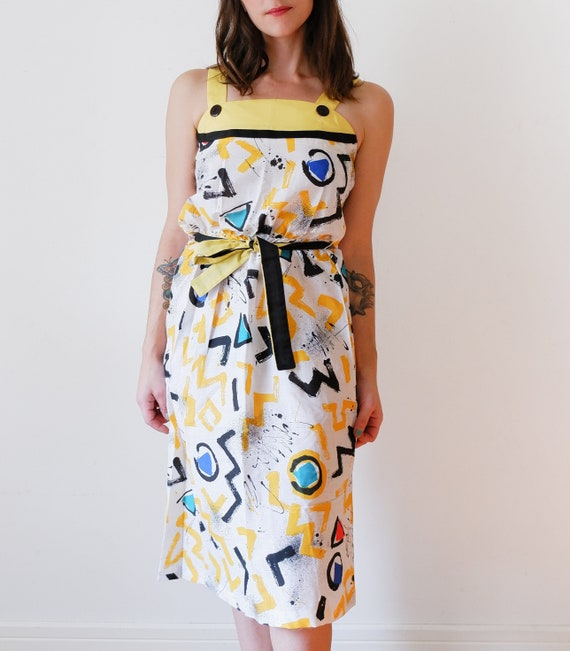 1970's White and Yellow Dress / Vintage Funky Prin
