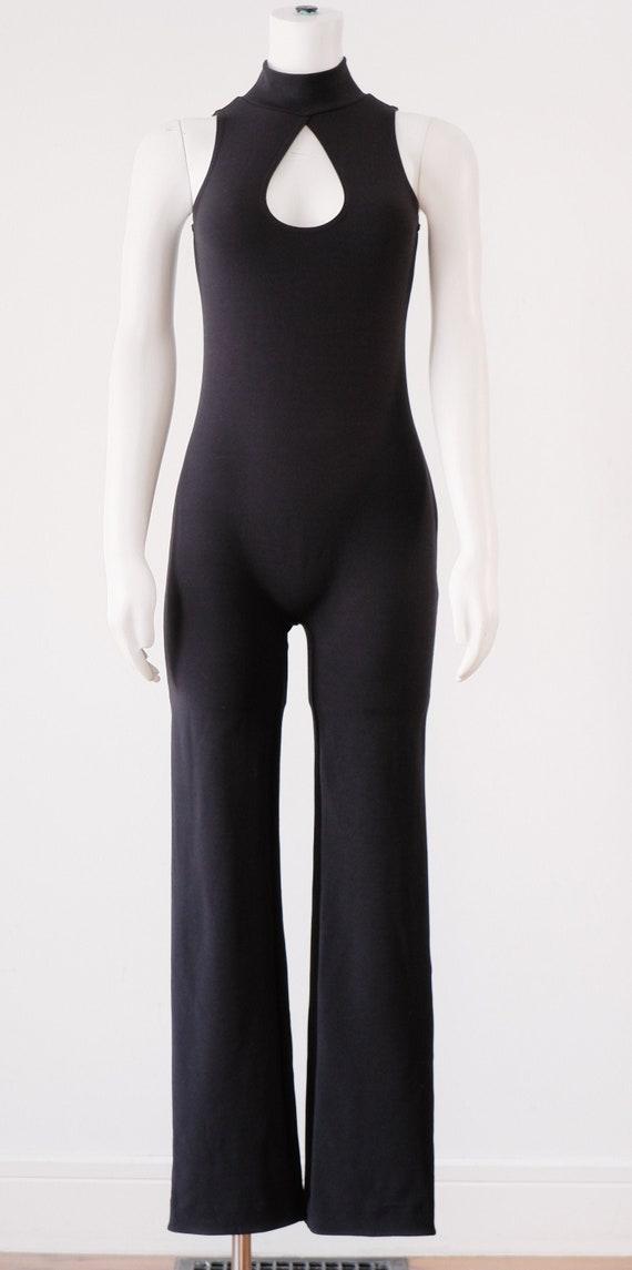1990's Black Turtleneck Bodysuit / Vintage Sleevel
