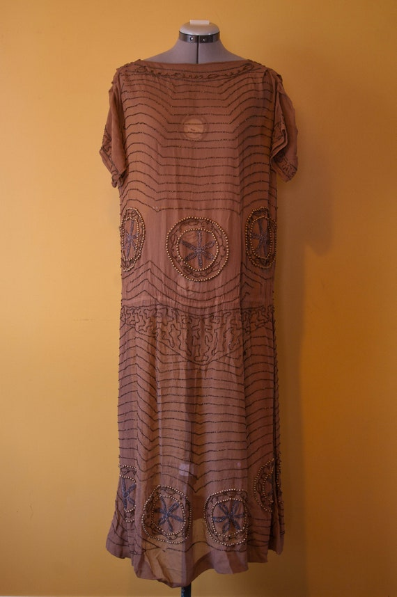 1920's Brown Beaded Flapper Dress / Vintage Short