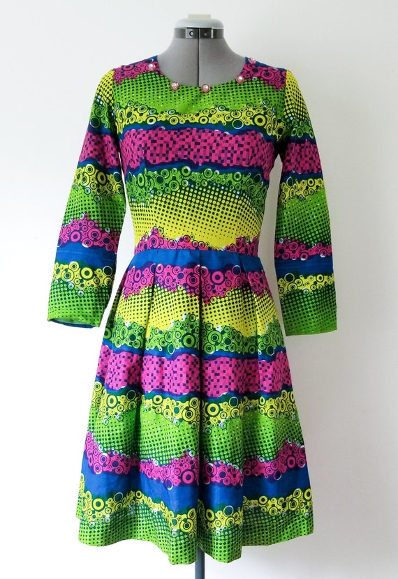 1960's Green and Pink Party Dress / Vintage Long S