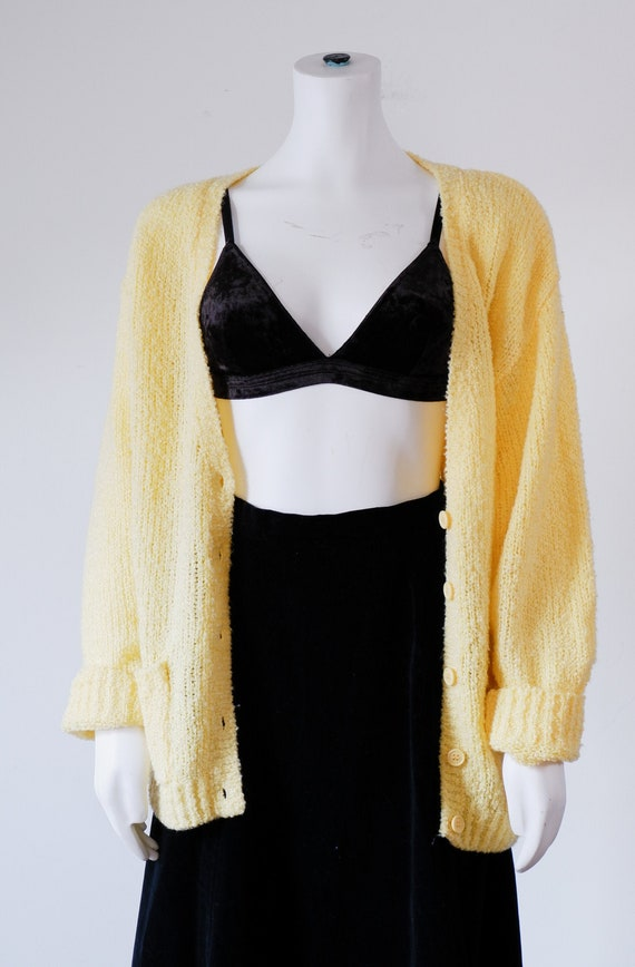 1990's Yellow Knit Cardigan / Vintage Oversized Sw