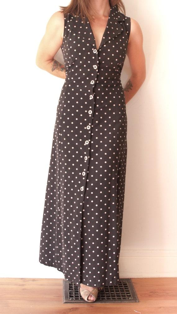 1990's Black and White Polka Dot Maxi Dress / Vint