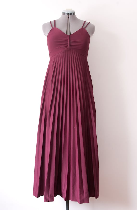 1970's Pleated Purple Maxi Dress / Vintage Purple
