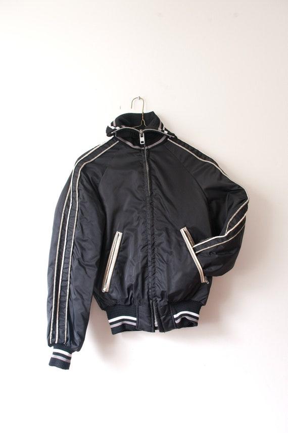 1980's Black Striped Bomber Jacket / Vintage High