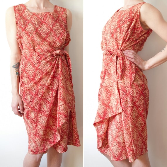 1990's Red and Gold Floral Wrap Dress / Vintage Ca