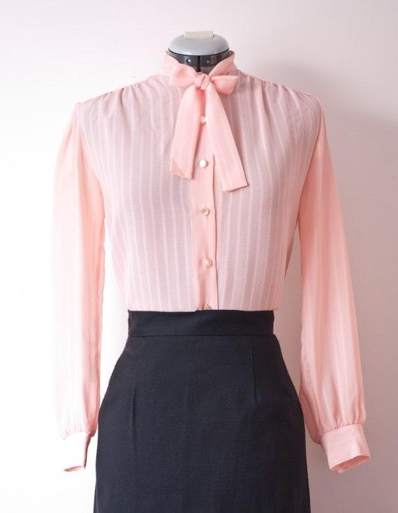 1960's Long Sleeve Sheer Pink Blouse / Vintage But