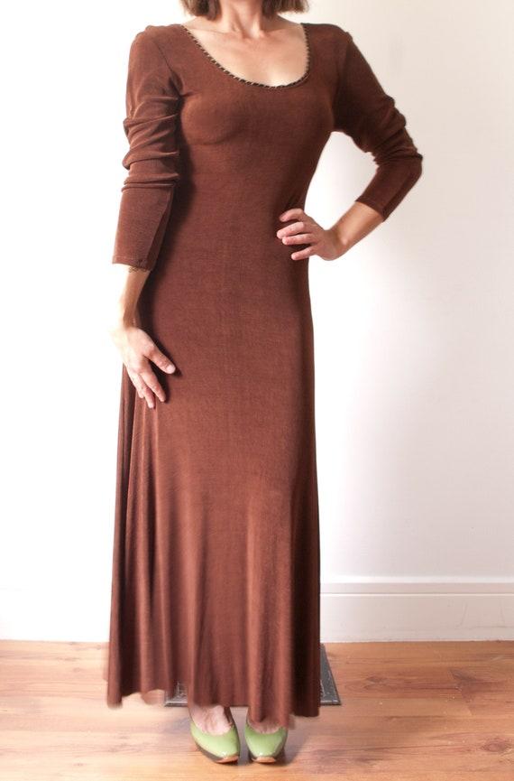 Vintage Long Sleeve Maxi Dress / Bronze Boho Eveni
