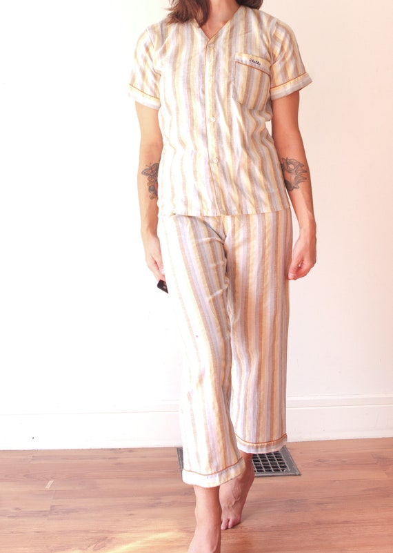 1960's Striped Pajamas Pant and T-Shirt Set / Soft