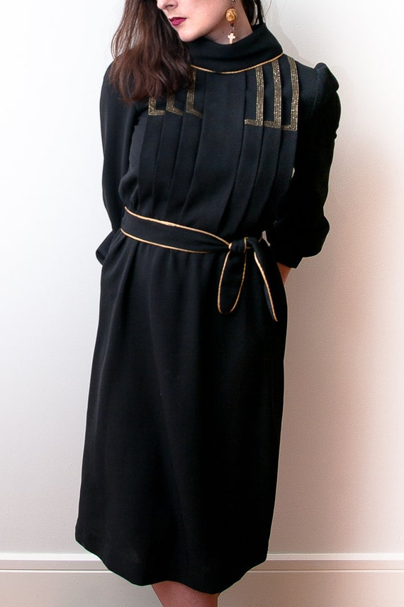 1970's Black and Gold Cocktail Dress / Vintage She