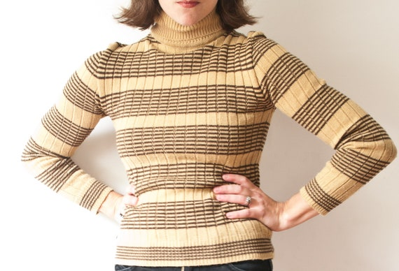 1970's Striped Turtleneck Sweater / Vintage Yellow